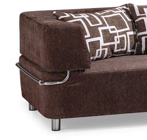 Convertible Ottomans Brown Microfiber Convertible Sectional Sofa Bed W Ottoman Bench