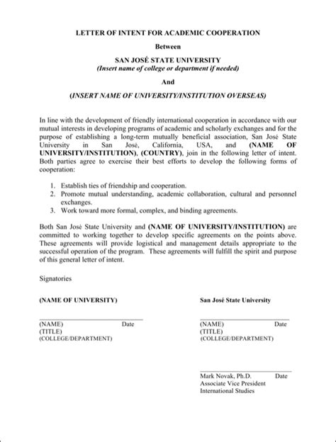 Letter Of Intent Sle Academic Free Academic Letter Of Intent For Doc Pdf
