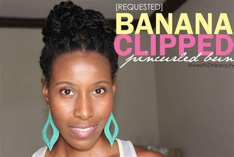 Hair Style Wirh Banana Clip | watch me style pin curled banana clipped bun