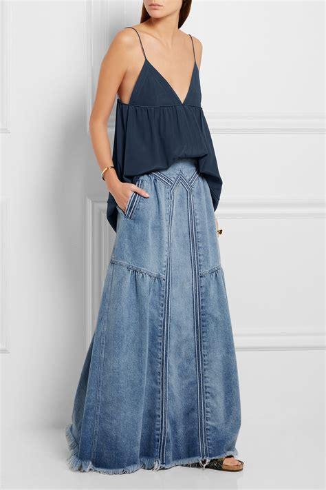 Rok Denim Maxi Skirt Dominggo Rok chlo 233 frayed denim maxi skirt net a porter boho