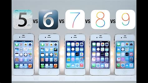 ios 5 vs ios 6 vs ios 7 vs ios 8 vs ios 9 on iphone 4s speed test