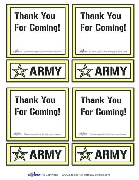 thank you army card template 75 best images about army birthday part on