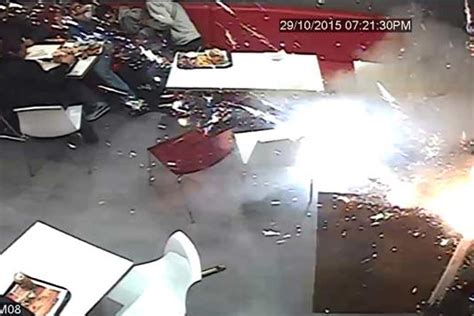 Chicken Cottage Watford by Terrifying Moment Masked Yobs Set Firework Inside