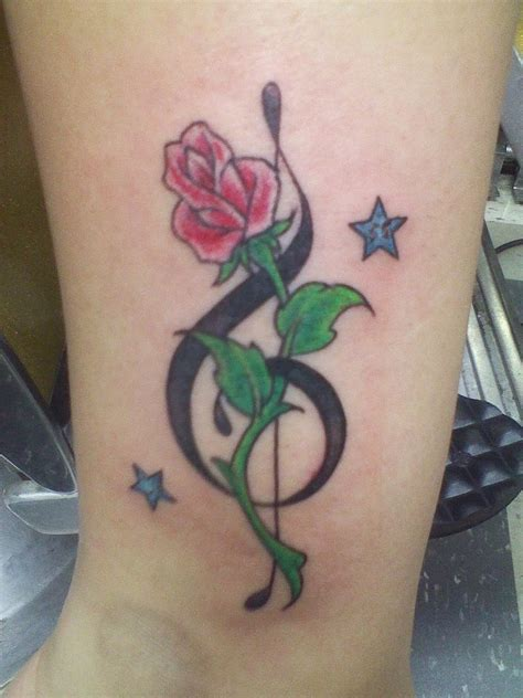 my tattoo music note rose and stars tattoo ideas