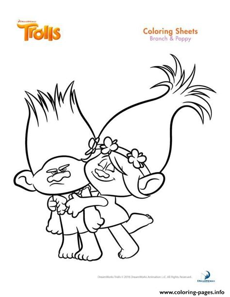 branch and poppy trolls coloring pages printable