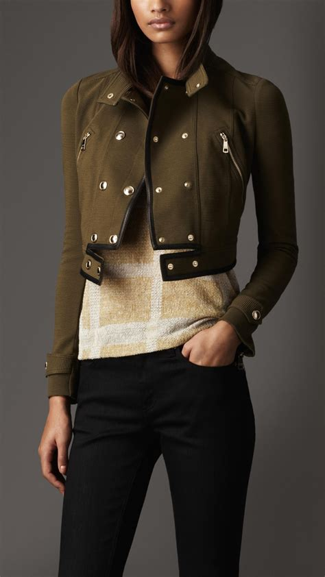Burberry Style Leather burberry cropped leather detail jacket closet