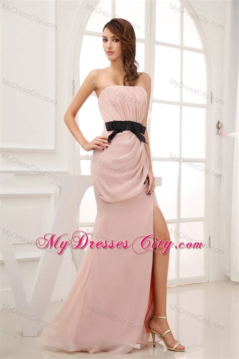 pink strapless ruched prom dress with black belt