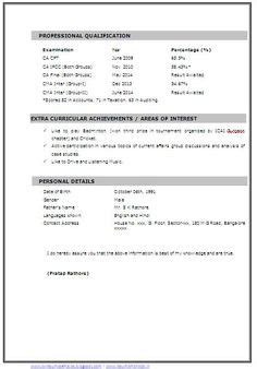 3 Page Resume Format by Chartered Accountant Resume Format Freshers Page 2 Cv