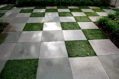 and grass patio artificial turf as permeable gaps between pavers jacks turf