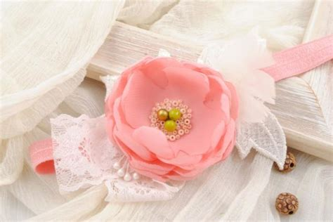 vintage style baby headband newborn headband bow pink flower headband flower headband baby hair bow