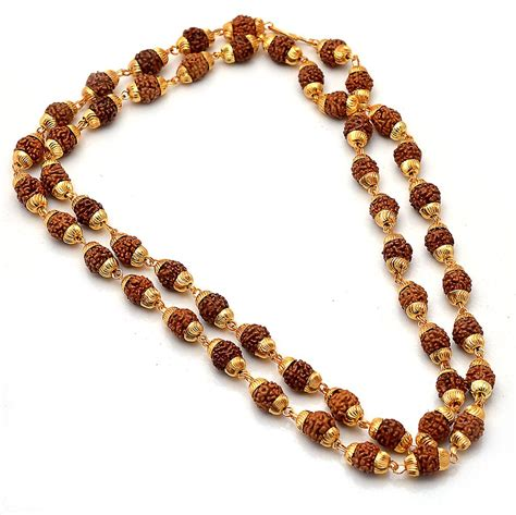 gold mala pattern gold plated online panch mukhi rudraksha mala seller supplier
