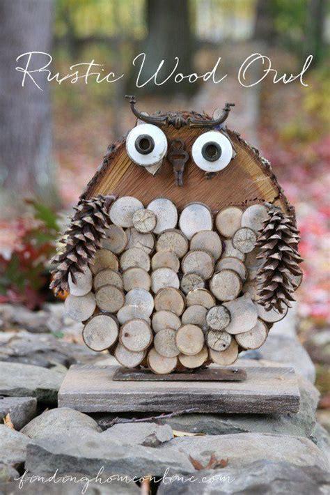 diy owl crafts diy rustic wood owl tree slices pine cone and pine