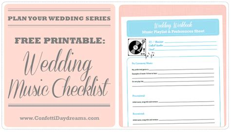 Wedding Music Checklist Wedding Planning Series Wedding Song List Template