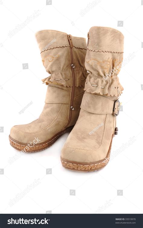 Official Winter Shoes Massimo Italiano Brown Formal Shoes Warm Classical Boots Ornaments On Stock Photo