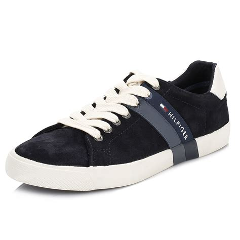 mens sport casual shoes hilfiger mens trainers blue volley 5a leather lace
