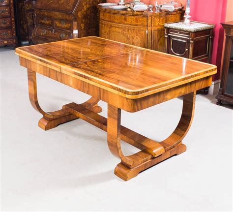 antique art deco burr walnut dining table and six chairs