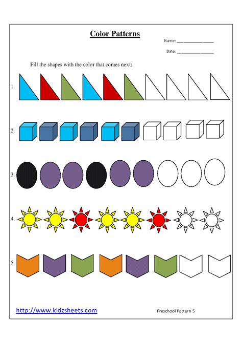 color pattern worksheets for kindergarten kidz worksheets preschool color patterns worksheet5