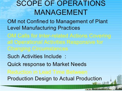 Scope Of Operations Management In Mba by Operations Management Ppt Bec Doms Bagalkot Mba