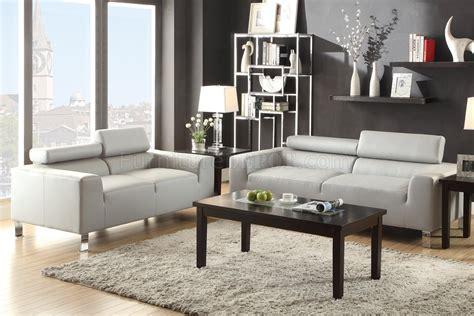sofa loveseat set light grey bonded leather  poundex