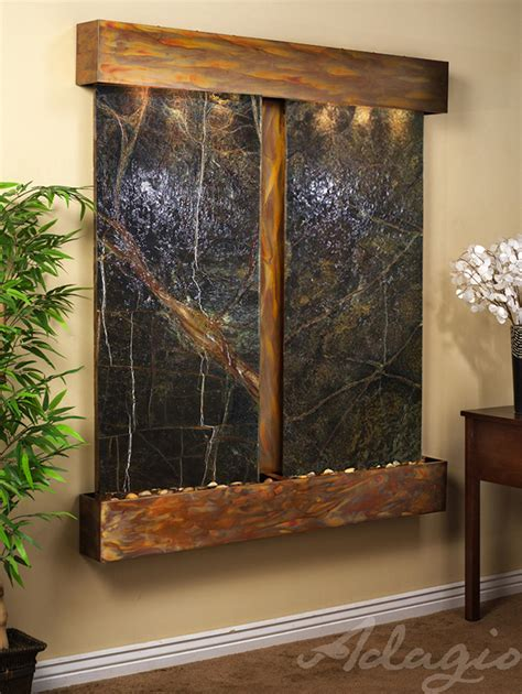 cottonwood falls wall water feature with green marble and