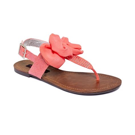 coral flat sandals lyst material solar flat sandals in orange