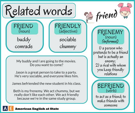 related words vocabulary words related to friend vocabulary