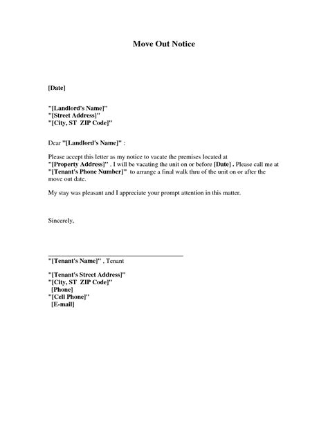 Move Out Notice Template best photos of move out notice to tenant template 30 day