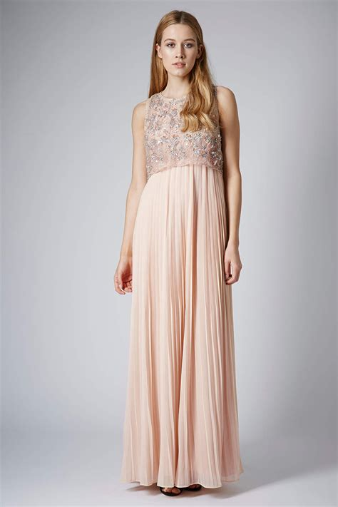 Dress Maxi Jumbo Limited lyst topshop limited edition pleated embellished maxi dress in pink