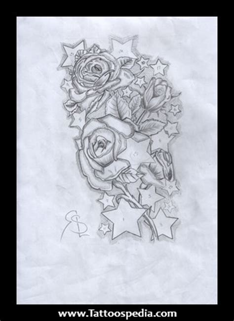 roses with stars tattoos images designs