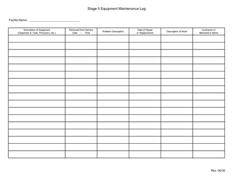 equipment log book template best photos of machine maintenance log sheet template