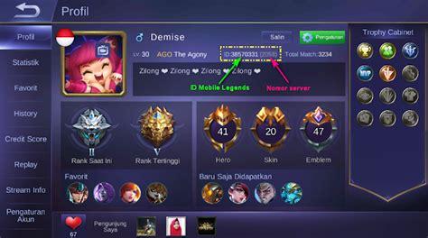 profil mobile legend cara mengetahui id dan nomor server akun mobile legends
