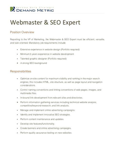 webmaster description webmaster seo expert description