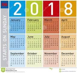 Calendario 2018 En Ingles Calend 225 Colorido Pelo Ano 2018 Em Ingl 234 S Ilustra 231 227 O Do