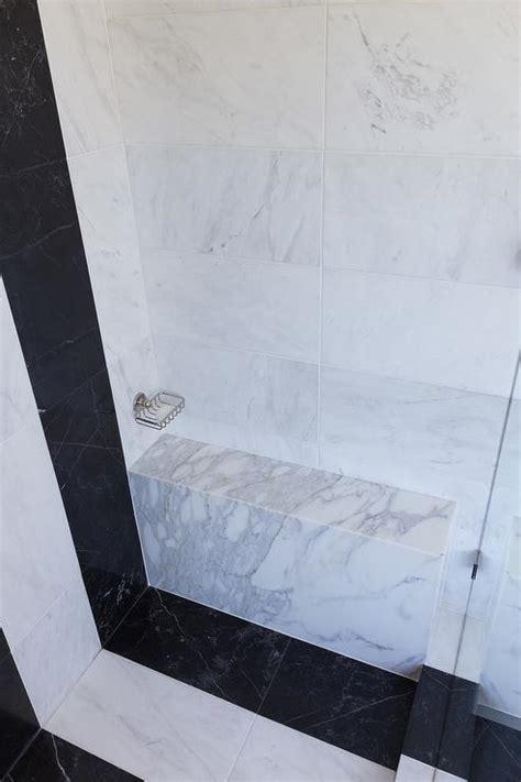 black and white striped bench shower with white and gray striped tiles design ideas