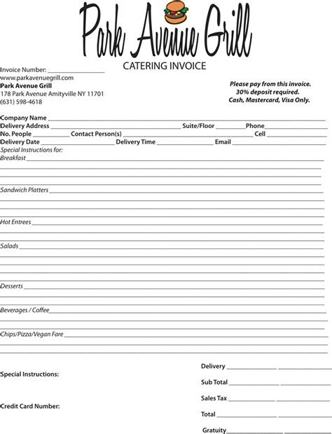 templates for catering invoices download catering invoice template 4 for free tidyform