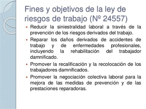 ley de riesgos de trabajo n 24557 monografiascom seguridad e higiene marco legal i arg