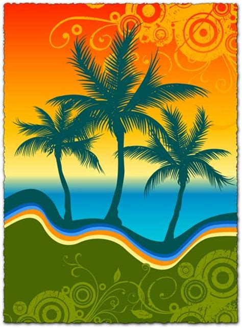 colorful palm trees colorful palm trees vector