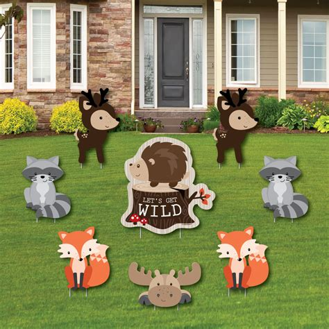 woodland creatures yard sign outdoor lawn decorations