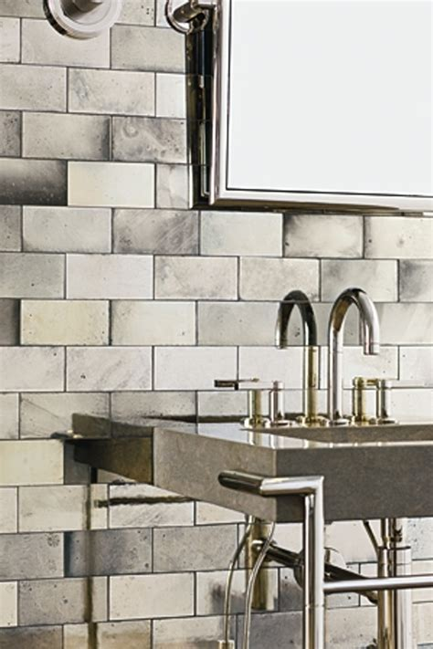 mirrored bathroom tiles ann sacks antique mirrored subway tiles hardware fixtures materials pinterest mirrored