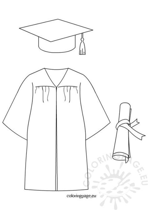 Graduation Cap And Gown Coloring Pages Coloring Page