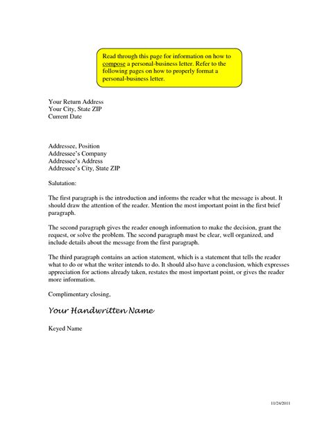 business letter format address personal writing