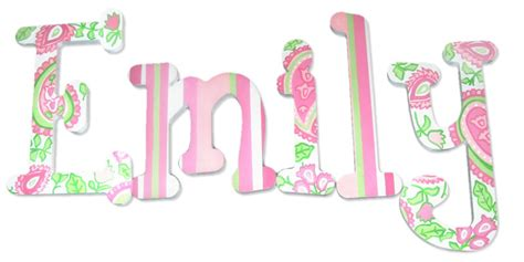 letters for emily emily lime pink paisley painted wall letters