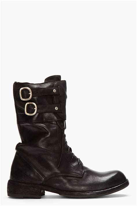 matte black boots officine creative black matte leather buckled boots in