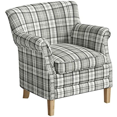 Armchairs Checked Fabric County Armchair Grey Check Fabric Accent Easy Chair