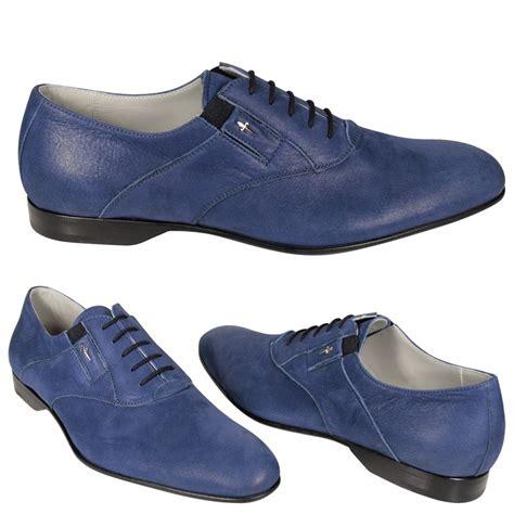 cesare paciotti mens shoes blue leather lace up oxfords