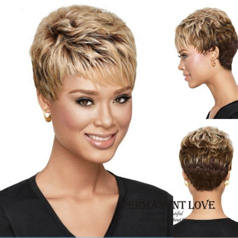 2015 new stylish pixie cut hairstyle synthetic wigs short curly hair wigs for americans heat resistant synthetic short wigs pixie cut hairstyle