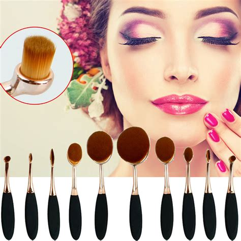 Kuas Make Up Wajah 10 Pcs Black Gold kuas kosmetik make up oval brush wajah 10 pcs black gold jakartanotebook