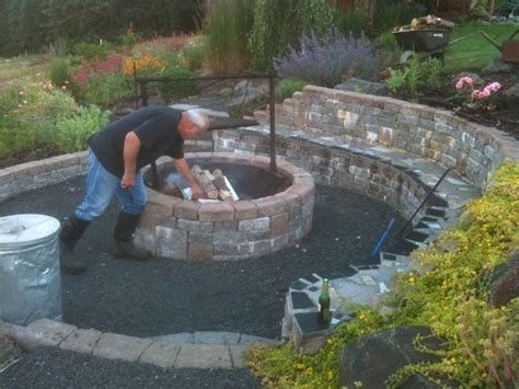 building pit seating great idea pit area built into hillside retaining wall seating area home