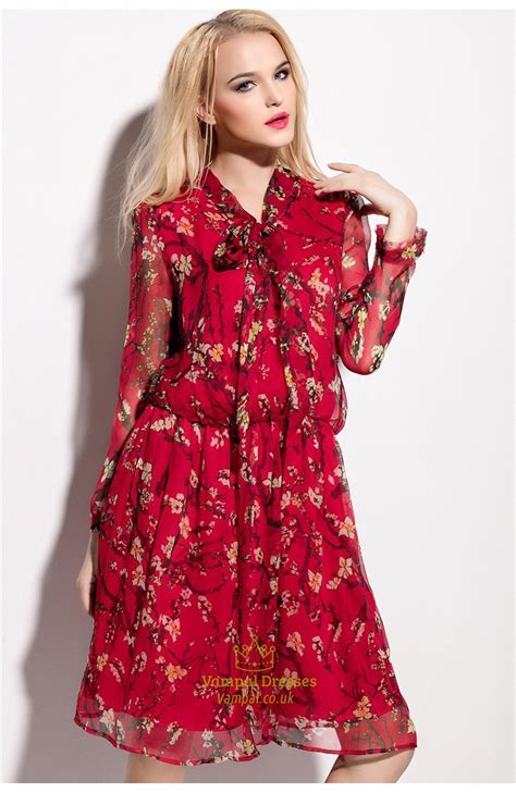 Floral Print Chiffon Dress floral print chiffon overlay knee length dress