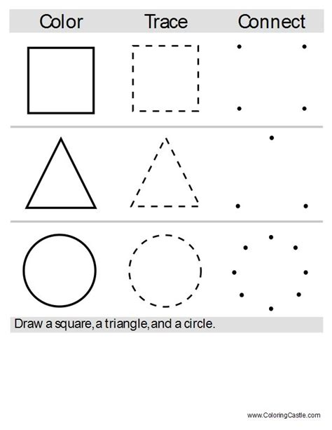 printable dot to dot shapes color trace and connect the dots fun educational